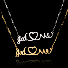 Buy 2017 New Arrival Stainless Steel Choker Necklace Jewelry God Love Heart Pendant Silver Chain Gold Necklace Gothic Chokers for $1.90 in AliExpress store
