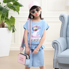 Girl Jean Clothing Sets Beauty Avatar Print Cotton Materail Casual Children Clothes Sets