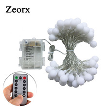 Remote Timer Waterproof 5M 50 LED Outdoor Globe String Lights 8 Modes Battery Operated Frosted White Ball Fairy Light dimmable(China)