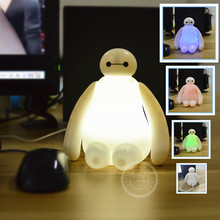 USB lamp 4 color light Baymax Big Hero 6 classic Marvel toys hobbies for kids chirdren movie tv action toy figures 16cm