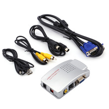 VGA to AV TV RCA Signal Adapter Converter Composite Video Switch Box For Computer Laptop PC Supports NTSC PAL