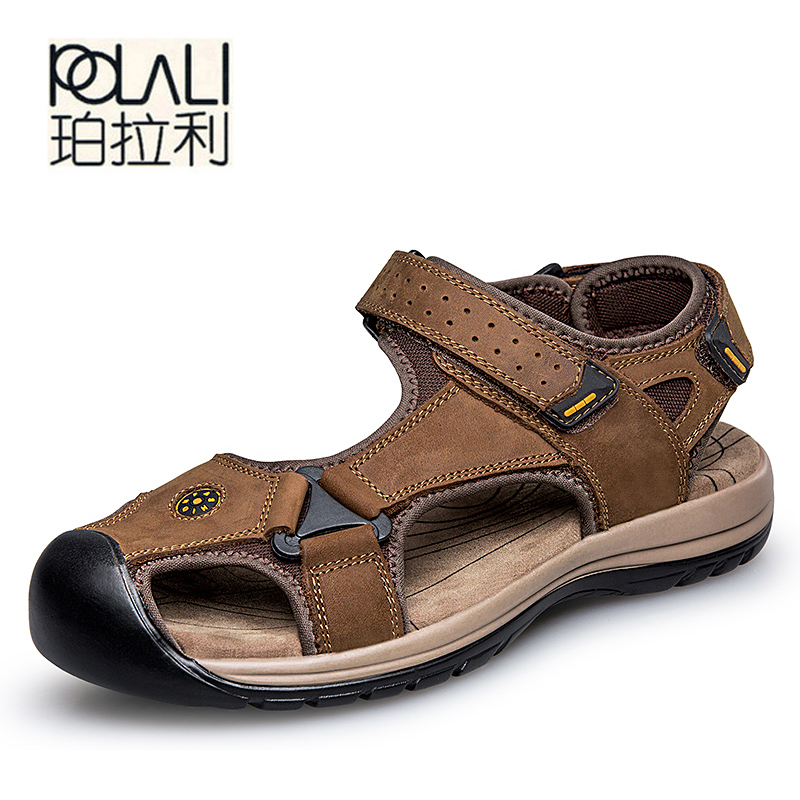 POLALI genuine leather men sandals summer cow leather new for beach male shoes mens gladiator sandal 39-46