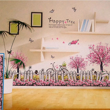 "Cheap Price 50*70cm Pink ""Happy Tree"" 3D Wall Sticker Multi-layers DIY Decal Butterfly Heart Flower Home Decor stickers muraux"