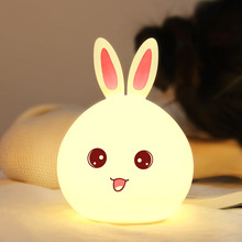 Cute Night light Animal Rabbit Night lamps Touch Sensor Silicone LED Colorful Lights Children Gift Baby Bed USB led Light