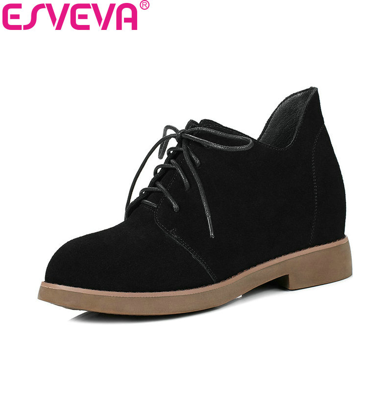 ESVEVA 2018 Height Increasing Women Boots Cow Suede High Heel Ankle Boots Inside PU/synthetic Lace Up Ladies Boots Size 34-40<br>