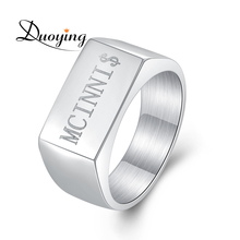 316L Stainless Steel Men's Bar Custom Engraved Name Ring Personalized Initial Ring eBay Amazon Supplier(China)