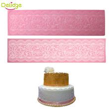 Delidge 1PCS Cake Lace Mat Silicone Lace Flower Pattern Fondant Pad Weeding Cake Mold Fondant Cake Decorating Tool