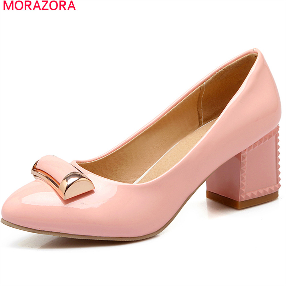MORAZORA 2018 new arrive spring summer female pumps round toe with metal decoration high heels square heel shallow woman shoes<br>