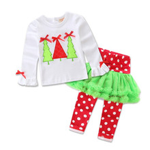 New arrive girls t-shirt + dress pants Christmas 2 pcs Stripe snowman suit zebra clothing children set clothes