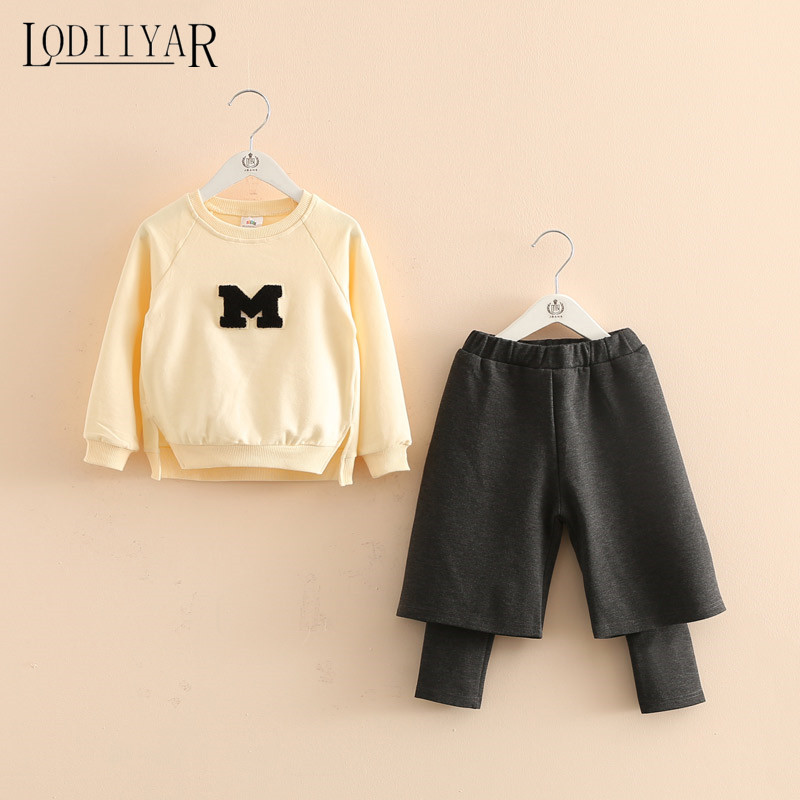 Girls Clothing Set Kids Letters Pullover + Baggy Pants Fashion Solid Color Kids Blouse New Autumn Winter Children Suit<br><br>Aliexpress
