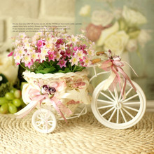 Free shipping 2pcs/lot PE storage rattan tricycle + flowers crafts vase artificial flowers basket  wedding decoration christmas