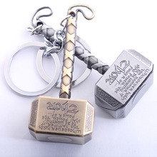 Free Shipping 5pcs/lot Thor Hammer Keychain The Avengers Mjolnir Figure Pendant Metal Key Chains Movie Keychains Accesssory