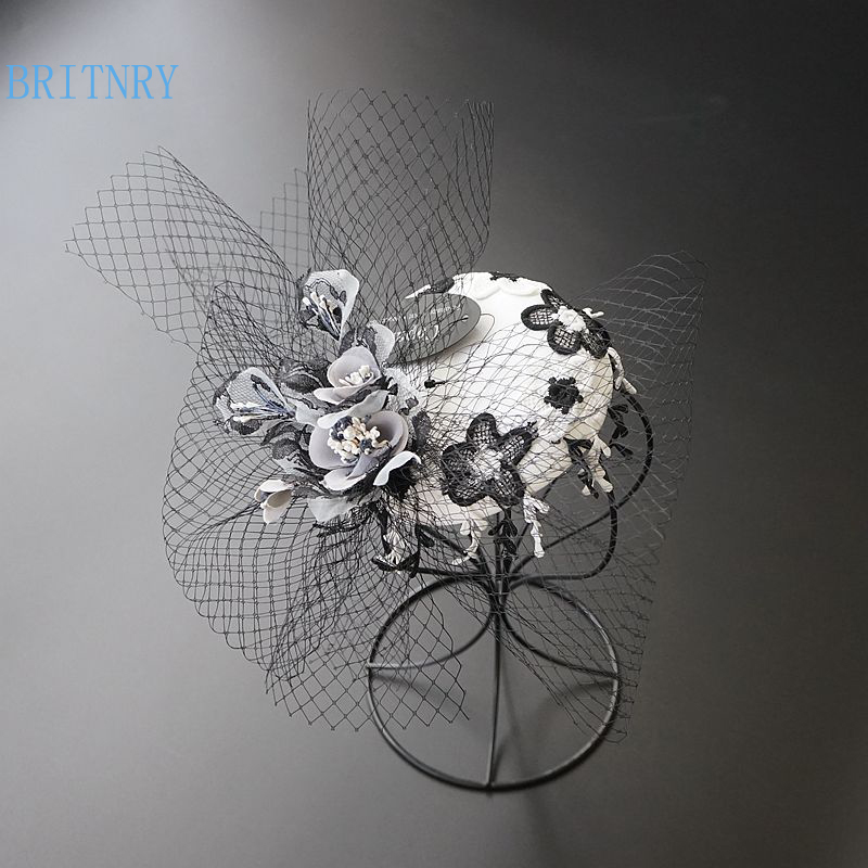 BRITNRY Vintage Bridal Hat with Black Tulle Handmade Lace Flowers Party Evening Wedding Hats for Women Elegant Hair Accessories