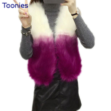 Women Faux Fur Waistcoat Short Vest Covered Button Warm Kitted Tops Purple Faux Fox Fur Jackets and Coats Ladies Autumn Winter(China)
