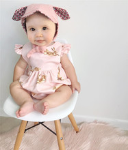 Baby Gilrs Cute Summer Bodysuit Golden Bunny And Deer Printing Girls Princess Clothing Wear Jumpsuit Bodysuit Oufits Sunsuit
