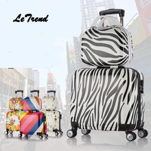 LeTrend Creative Rolling Luggage Set Spinner Women Trolley Fashion Travel Bag Student Suitcase Wheels 17 inch Men Carry On Trunk