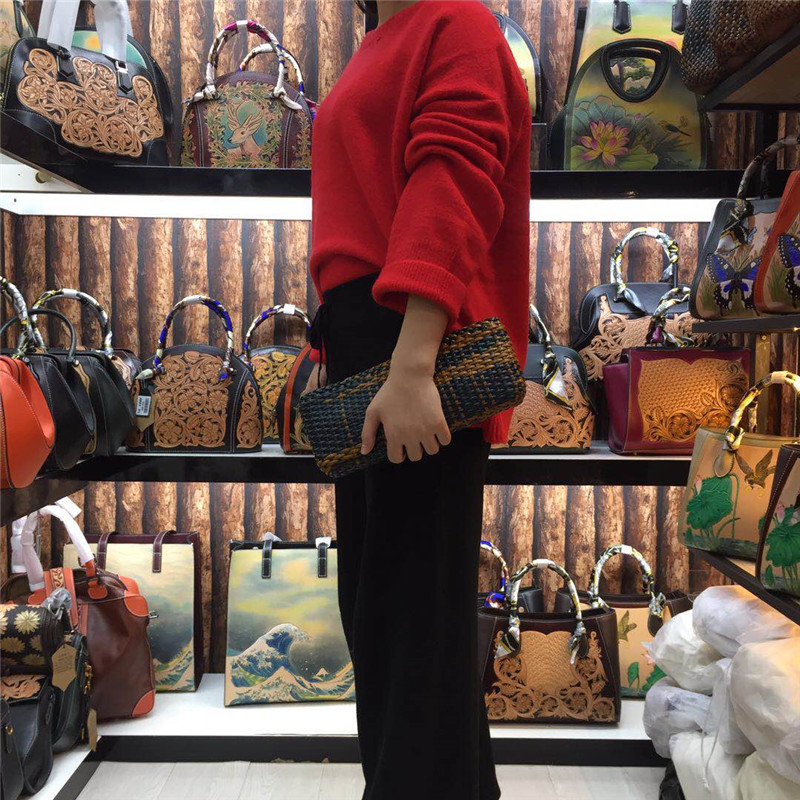 New Hand Weave Genuine Leather Women Shoulder Messenger Bags Handbag Ladies Clutch Bag female mini leather weave bags