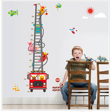 Traffic Bus Pattern Kids Height Measure Wall Stickers Rabbit and Ladder Pictures Children Vinyls Height Measure Wall Paper 3*