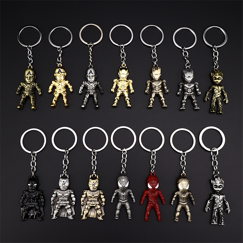 Metal Marvel Avengers Captain America Shield Keychain Spider man Iron man Mask Keychain Toys Hulk Batman Keyring Key Gift Toys (27)