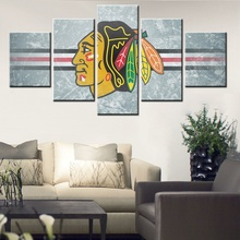 NHL Ice Hockey Sport Team Red Chicago Blackhawks Logo Ice Crack Style Picture Canvas Painting Print Cool Wall Art For Home Decor
