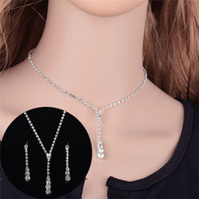 Tennis Crystal Drop Necklace Set Silver Bridal Bridesmaid Jewelry Sets Rhinestone Necklace Earrings(China)