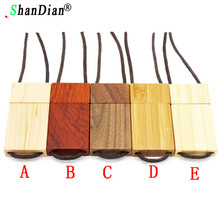 SHANDIAN LOGO customized nutural Wooden USB Flash Drive Lanyard wood pendrive 4GB 8GB 16GB 32GB Pen Drive Memory Stick U Disk(China)