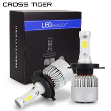 CROSS TIGER LED Car Headlight 10000LM/Set with 3 Sides Light H1 H3 H4 H7 H11 H13 H27 9004 HB3 9006 HB4 9007 HB5 Cree Lamps Bulbs(China)