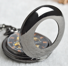 Tungsten Steel Polish Black Mechanical Pocket Watch Chain Hollow Antique Steampunk Fob Watches PJX1026