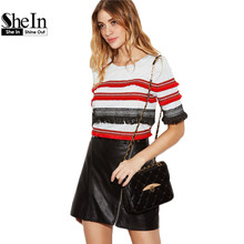 SheIn Womens Tops Korean Summer T shirt 2017 Vintage Tee Heather Grey Short Sleeve Embroidered Fringe Tape Detail T-shirt