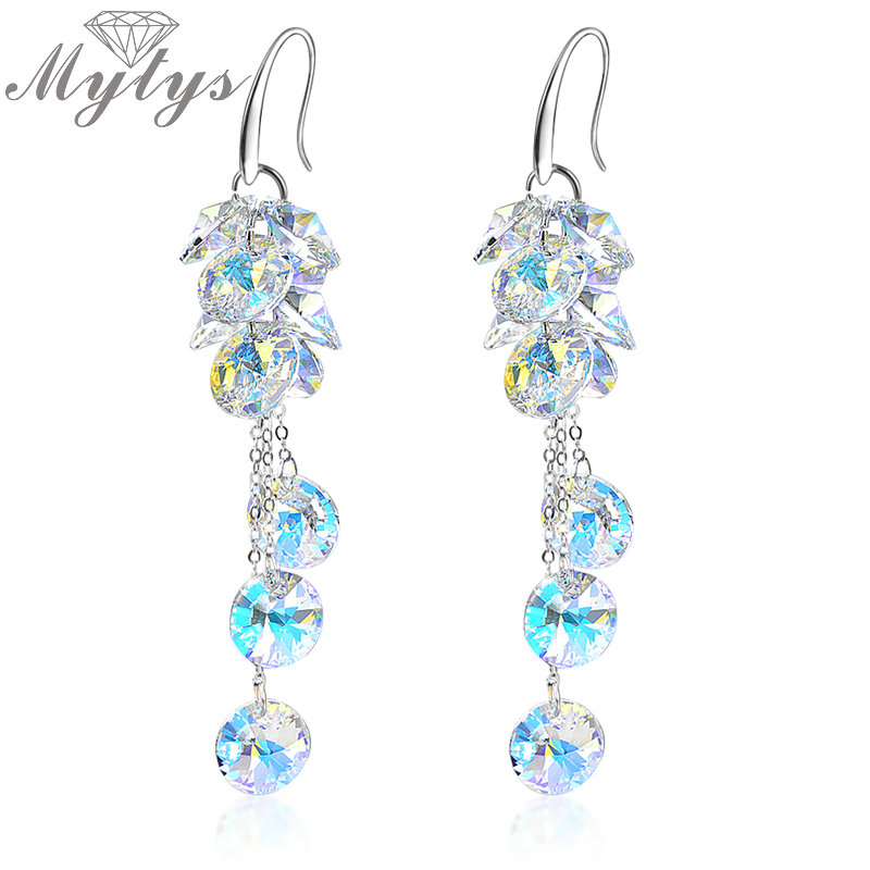 Mytys  White Colorful Crystal Dangle Earrings  White Gold Color E133
