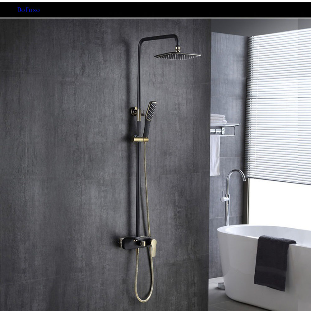 Dofaso Vintage Black Gold Bathroom Shower Faucets Retro 8 Head Big Rain Golden Bath Shower Set Mixer Tap Antique