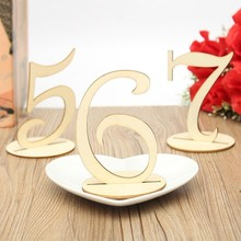 10pcs/lot Wooden 1-10 Number Table Numbers Holders for Wedding Birthday Party Anniversary Direction Signs Decoration Craft