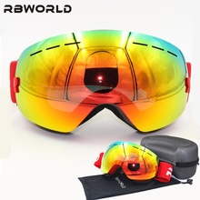 New brand  Ski Goggles Double Lens UV400 Anti-fog Adult Snowboard Skiing Glasses Women Men Snow Eyewear with box
