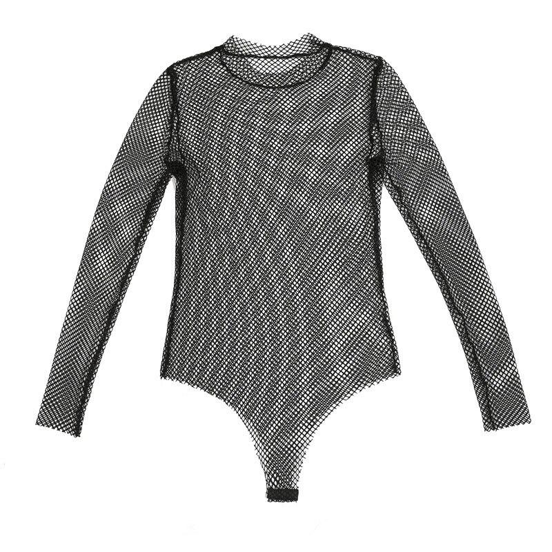 2018 New Style Fishnet Mesh See-through Black shirts Female Harajuku Sexy Long Sleeve Tee Tops (8)