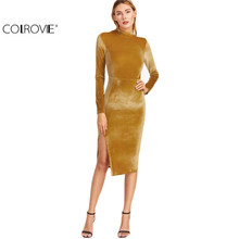 COLROVIE Women Office Dresses Korean Women Clothing Work Dress Mustard Mock Neck Split Side Velvet Sheath Dress