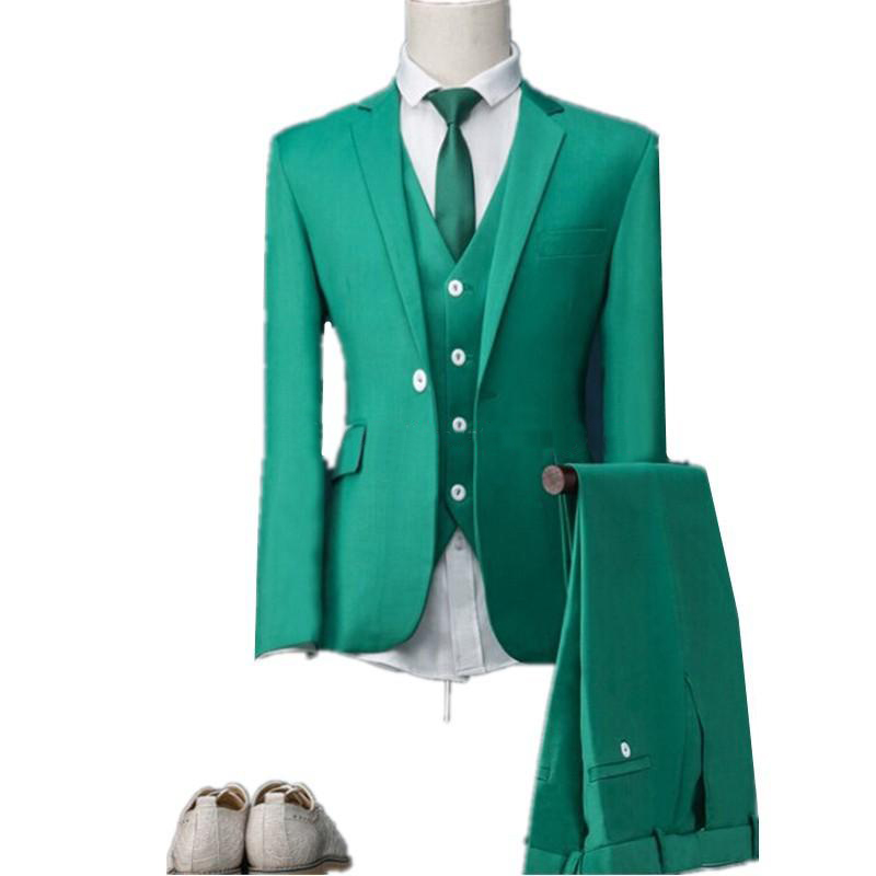 Fashionable One Button Green Groom Tuxedos Notch Lapel Groomsmen Best Man Mens Weddings Prom Suits (Jacket+Pants+Vest+Tie)