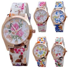 Fashion Women Silicon Band Flower Print Jelly Sports Quartz Wrist Watch  New Design 5D8W