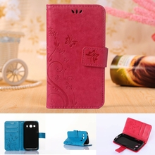 Wallet Leather Flip Case For Samsung Galaxy Ace 4 G357FZ Ace Style LTE SM G357 Back Cover Butterfly Flower Phone Bag Card Holder