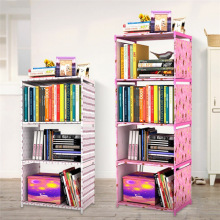 Bookcases Living Room Furniture Home Furniture steel+plastic+non woven bookcase bookshelf hot easily set up 2017 new quality(China)