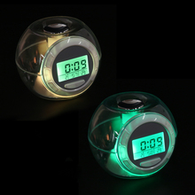 7 Color Light Glowing Calendar Alarm Clocks with 6 Nature Sound Night Light Transparent Digital Glowing Alarm Clock LCD Clock