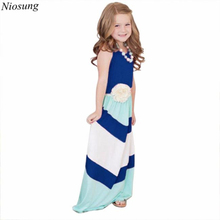 Niosung High Quality Stripe Stitching Cotton Sleeveless Dress Casual Family Clothes Daughter Girls Princess Dress Clothing Outft