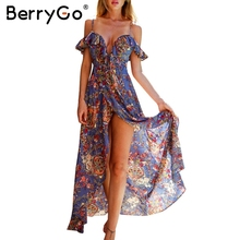 BerryGo Ruffle backless sexy long dress Vintage boho beach summer dress women Split chiffon zipper maxi dress vestidos sundress(China)