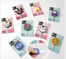 50pcs/lot cute cartoon silica gel  led flash key chain key cover key Silicone Protective key Cover mix design