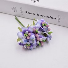 6pcs/lot Small Wildflowers Stamen Tea Bud Artificial Flowers For Wedding Car Home decoration scrapbooking DIY Craft Supplies