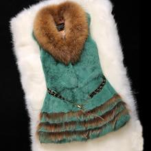 women real rabbit fur skin vest with raccoon fur collar bottom female outwear coat sleeveless jacket free ship gilet for femme(China)