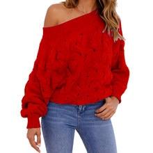 lotes Rojo de Suéter Suéter Rojo Hombro baratos de Compra Hombro strdxQCh