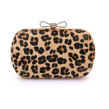 2017 leopard clutch bow knot clasp evening bags Horse Hair party bag Handmade Clutches Purse Party Handbag women mini bag w449