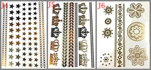 3 design set  Gold Temporary Tattoo hair tattoo Jewelry Flash Body atr make up star and crown Flash tattoo for girl boy