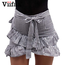 Buy Viifaa Plaid Skirts Womens Ruffle Mini Skirt Summer 2017 Faldas Casual High Waist Bow Short Pencil Skirt for $7.99 in AliExpress store