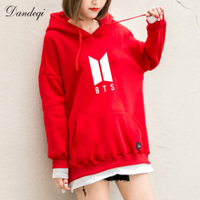 BTS Hoodies Women New Kpop BTS Bangtan Antumn Fleece Hooded Sweatshirt Harajuku Winter Hip Hop Patchwork Moletom Drop Shipping(China)